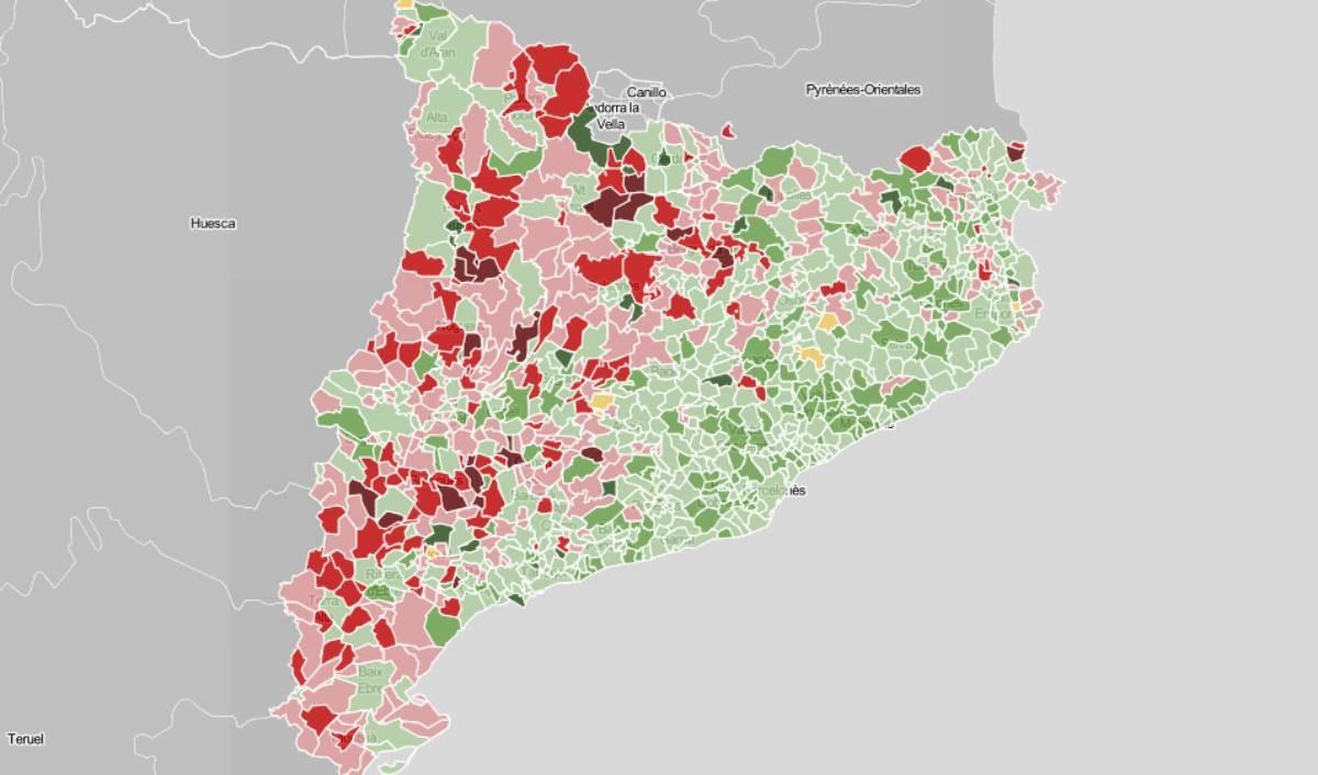 Mapa municipal de Catalunya, en funció de si perdrà o guanyarà població el 2033.