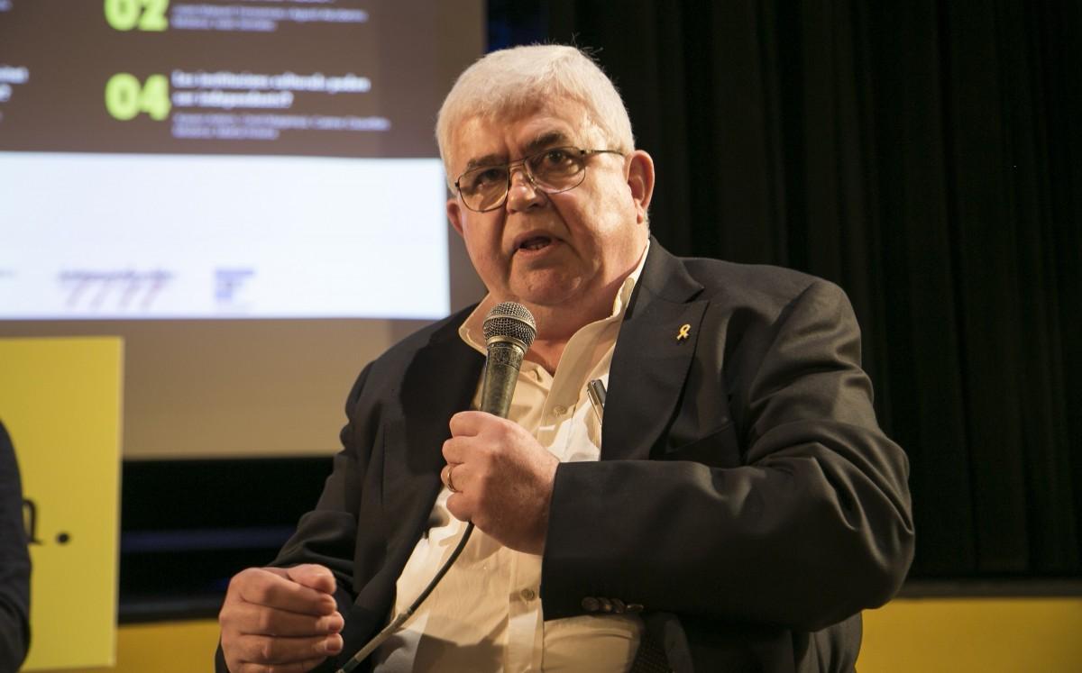 L'historiador i president de la Fundació Congrés de Cultura Catalana, Agustí Alcoberro, durant el debat.