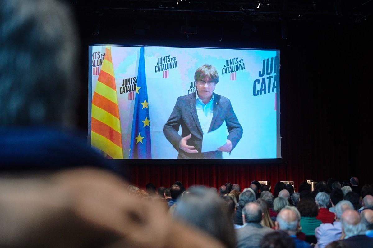 Acte de Junts per Catalunya al febrer amb Puigdemont de protagonista.