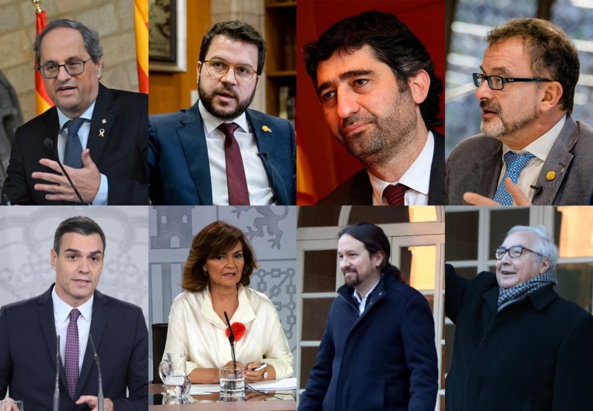 Els integrants de la taula de diàleg Estat-Generalitat