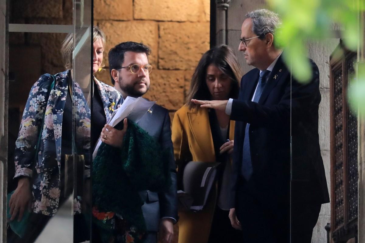 Quim Torra, Pere Aragonès, Alba Vergés i Meritxell Budó, en una imatge d'arxiu