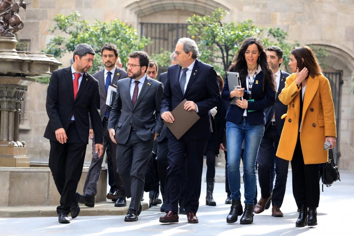 Joan Canadell, amb Pere Aragonès i Quim Torra, en una imatge d'arxiu