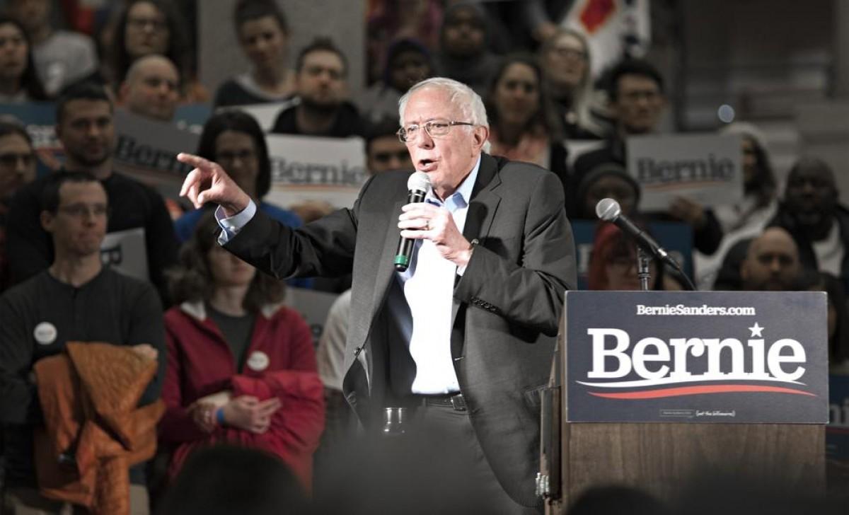Bernie Sanders, en un acte de campanya