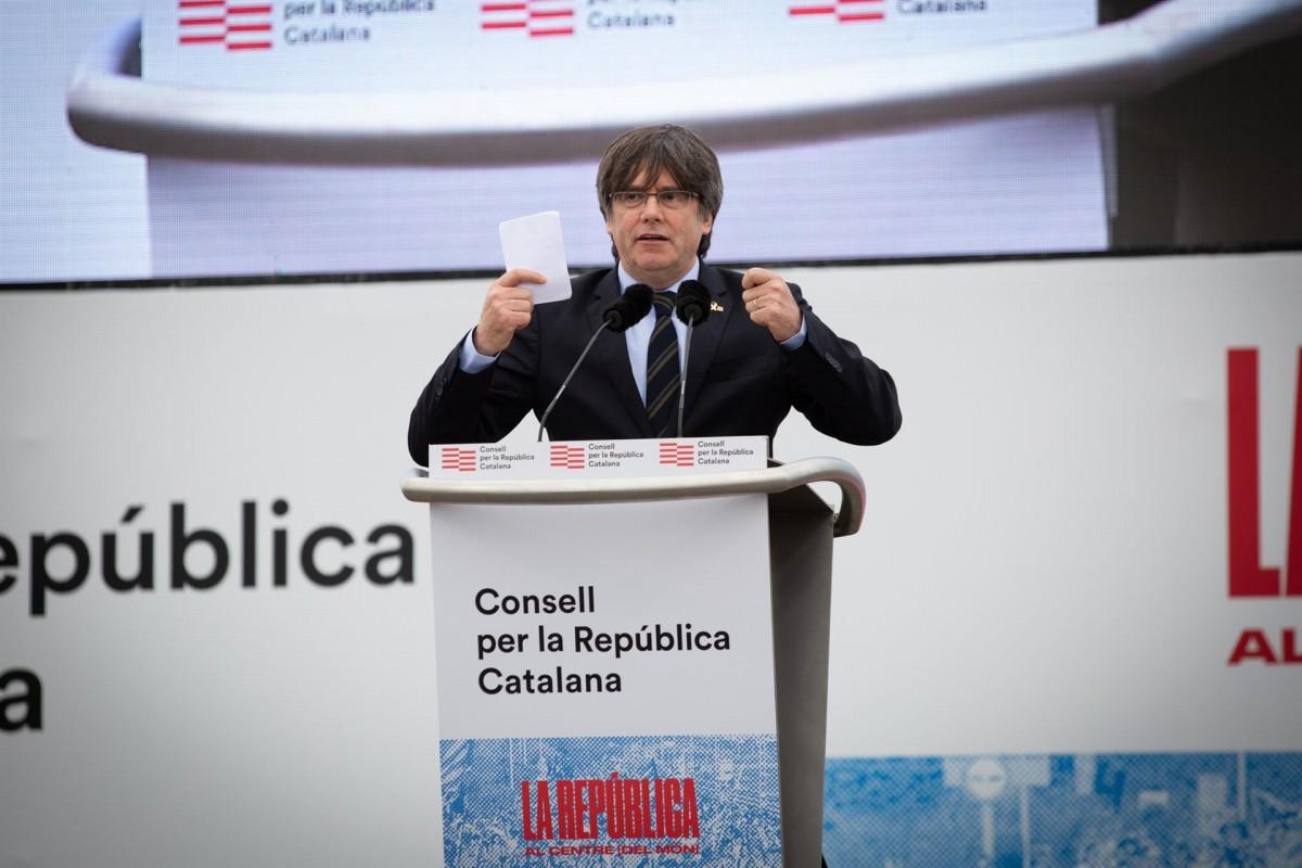 Carles Puigdemont, en l'acte del Consell per la República a Perpinyà.