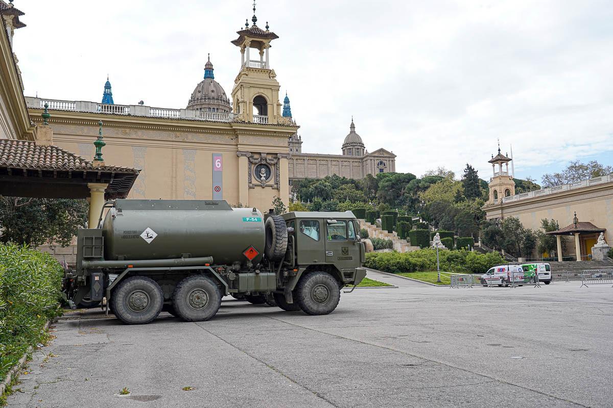 Un camió de l'exèrcit, a Barcelona