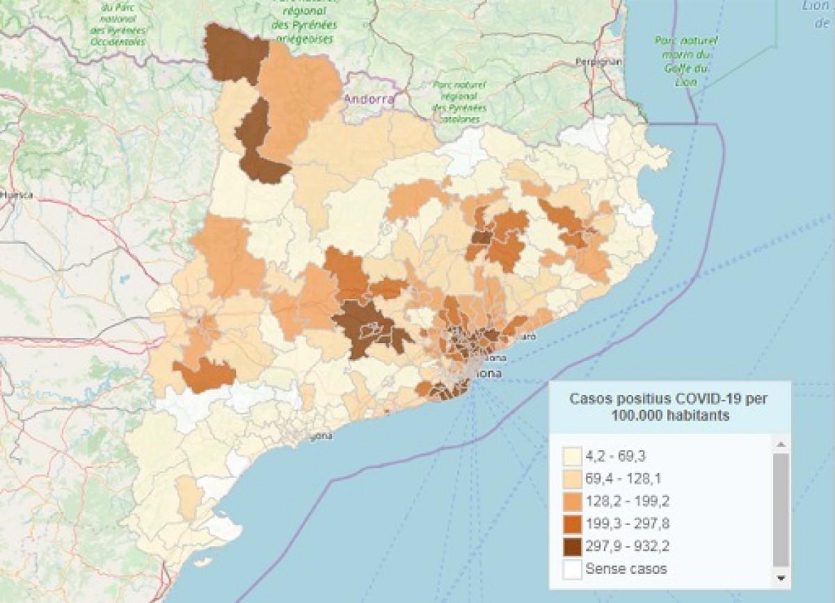 El mapa de calor del coronavirus a les àrees bàsiques de salut catalanes