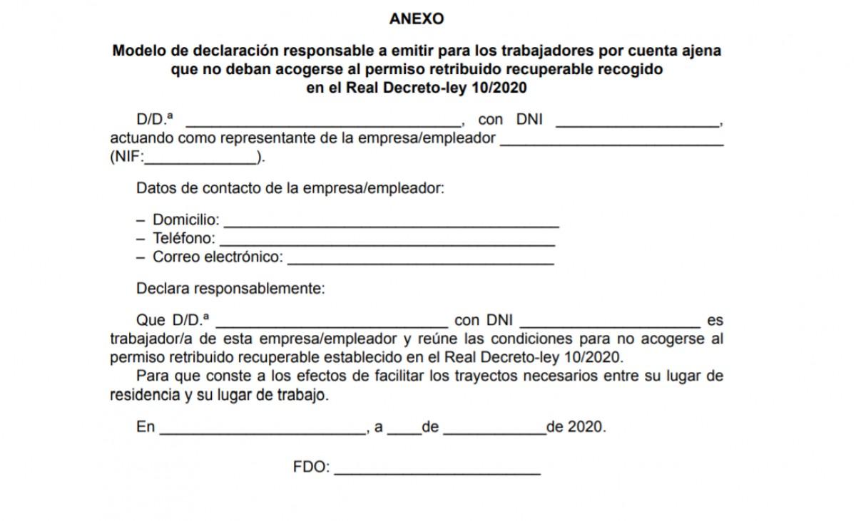 Document obligatori pels treballadors dels serveis essencials.