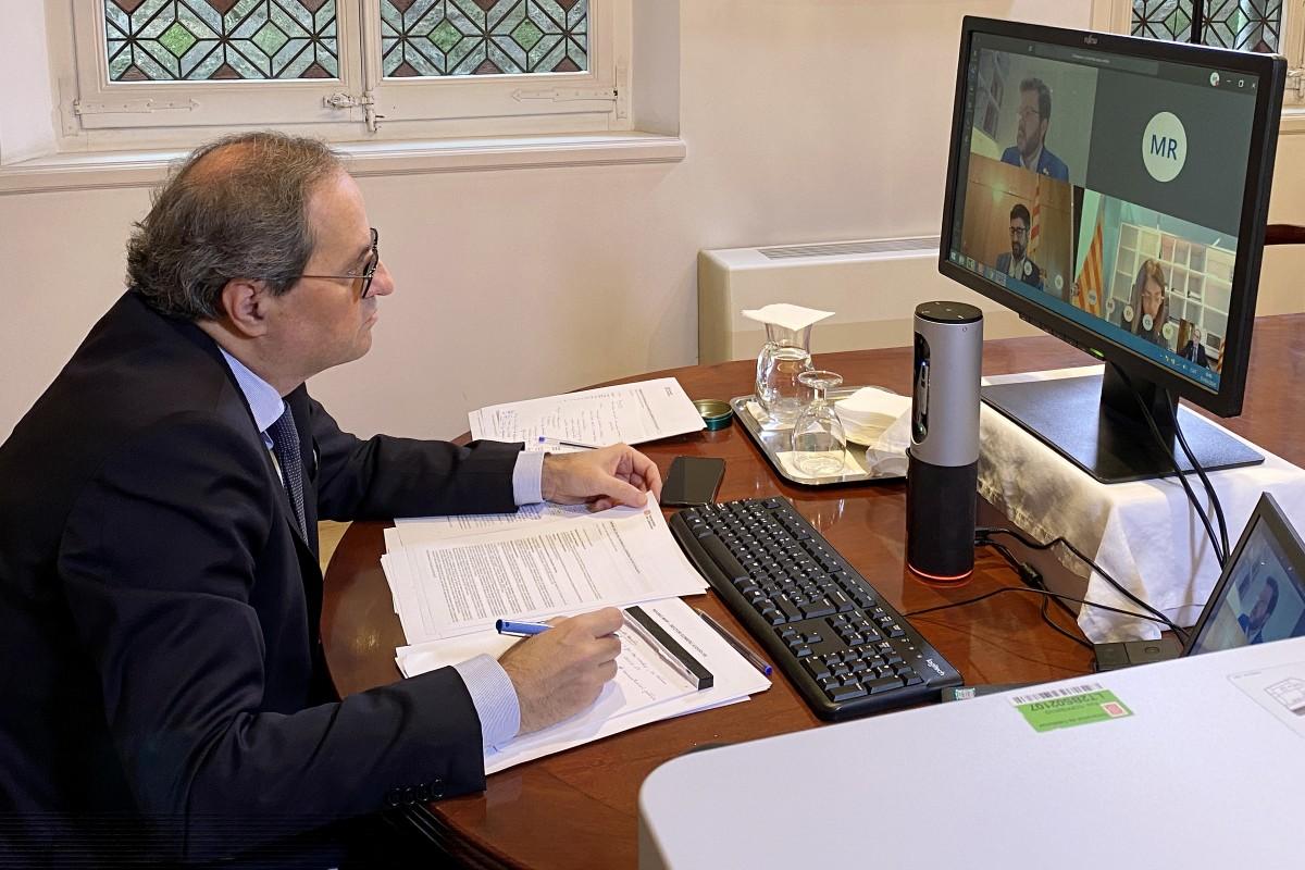 Quim Torra, durant la reunió telemàtica del Govern del 31 de març del 2020.