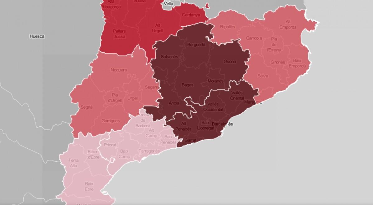Mapa de Catalunya, per regions sanitàries, en funció de la ràtio de contagis.