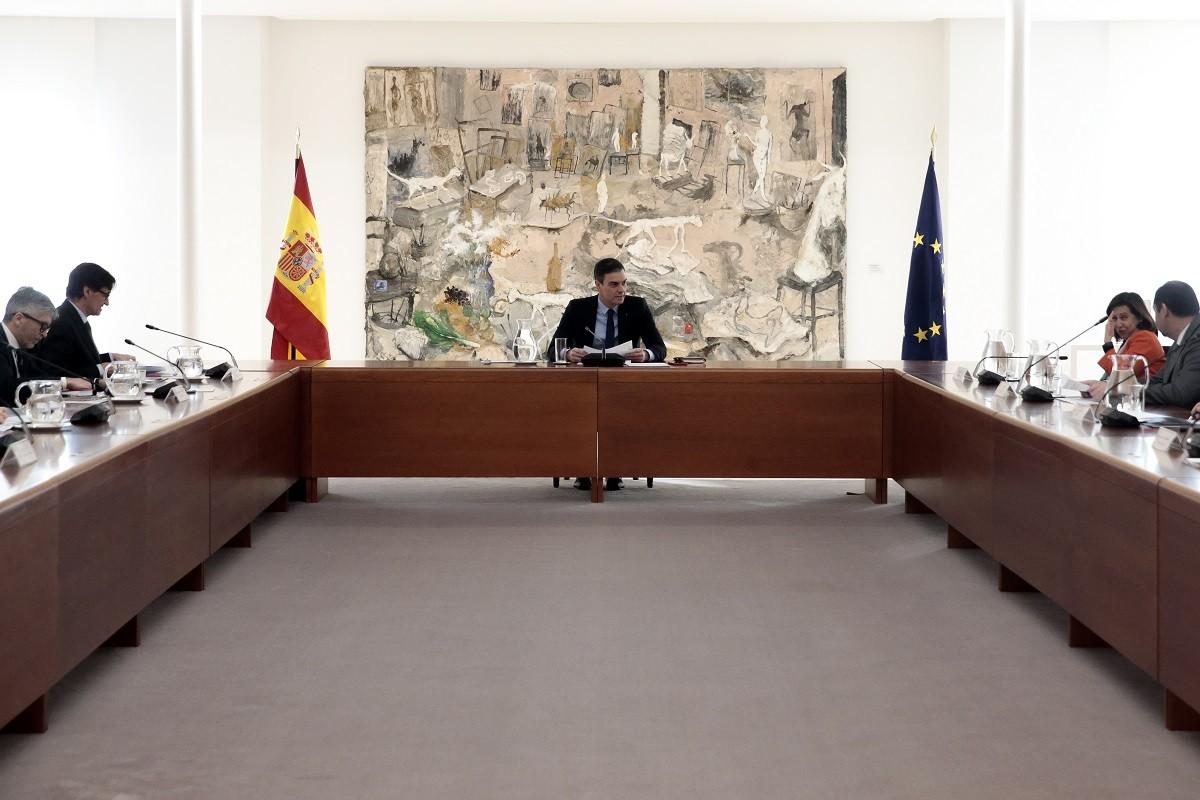 Pedro Sánchez, en la reunió del comitè d'experts d'aquest divendres