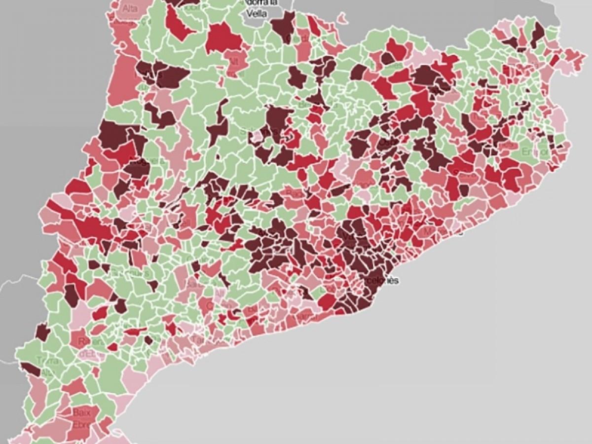 Mapa municipal de Catalunya, en funció dels positius per coronavirus.