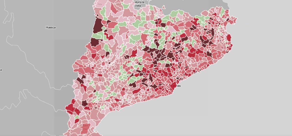 Mapa municipal de Catalunya, en funció dels casos de coronavirus.