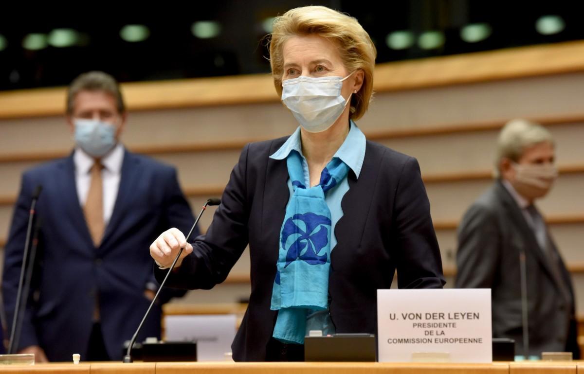 La presidenta de la Comissió Europea, Ursula von der Leyen, a la sessió plenària del Parlament Europeu del 13 de maig sobre la CoViD-19.
