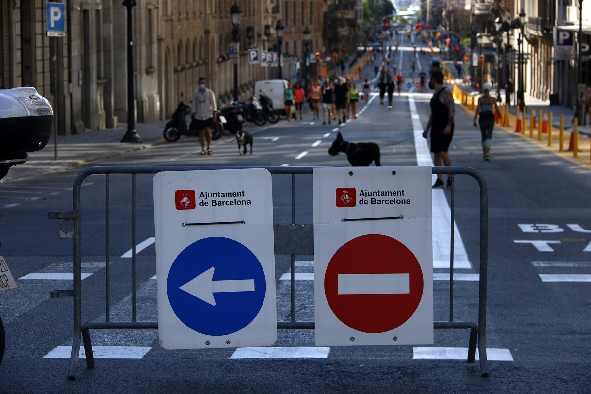 La Via Laietana, aquest dissabte.