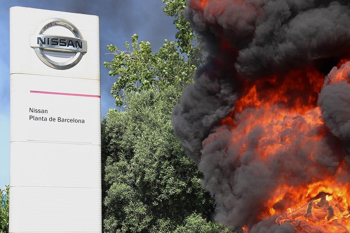 Protesta dels treballadors de Nissan pel tancament de la planta de Barcelona.