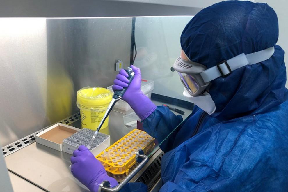 Una treballadora analitzant una mostra de PCR en un laboratori.