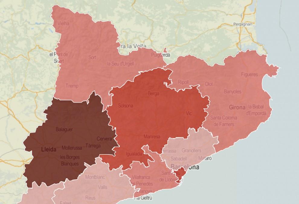 Mapa de les regions sanitàries, en funció del risc de rebrots