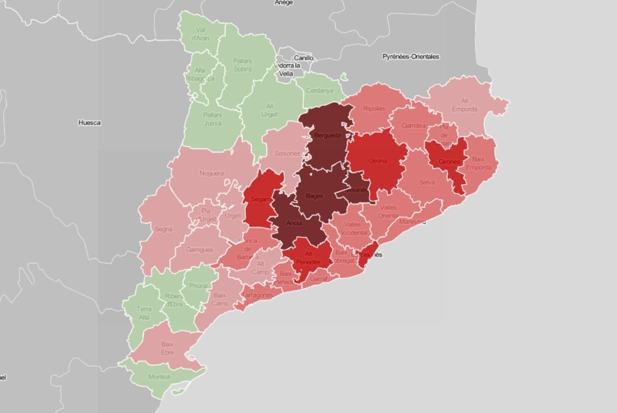 Mapa comarcal de Catalunya, en funció de la ràtio de morts per coronavirus al maig.