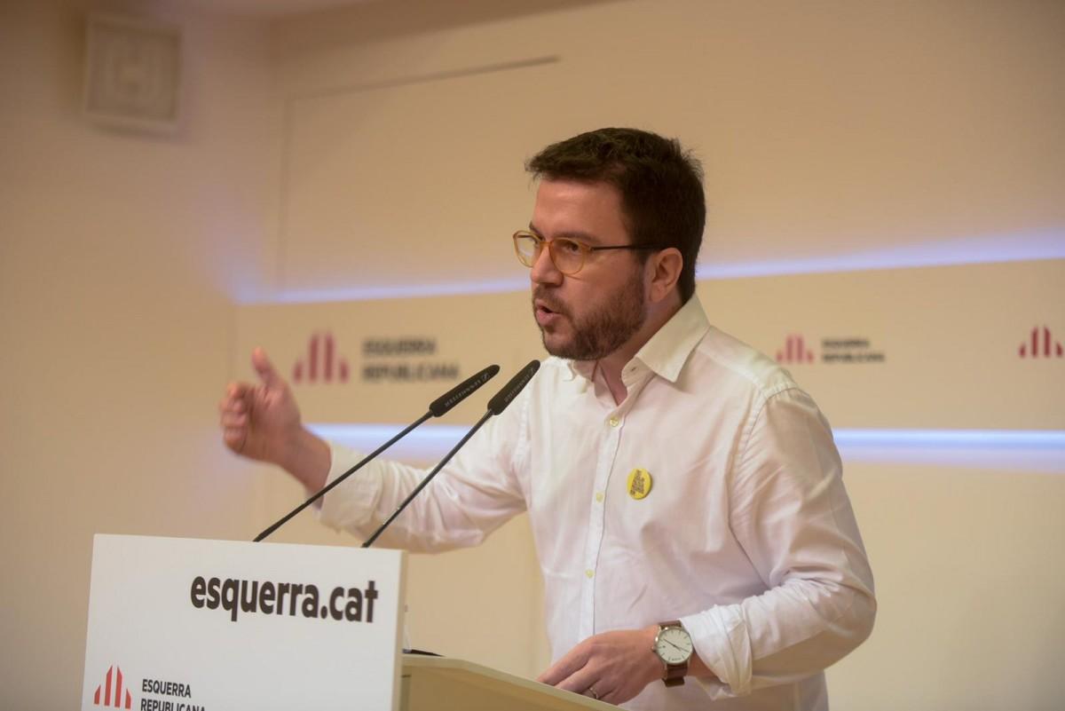 Aragonès durant el Consell Nacional d'ERC