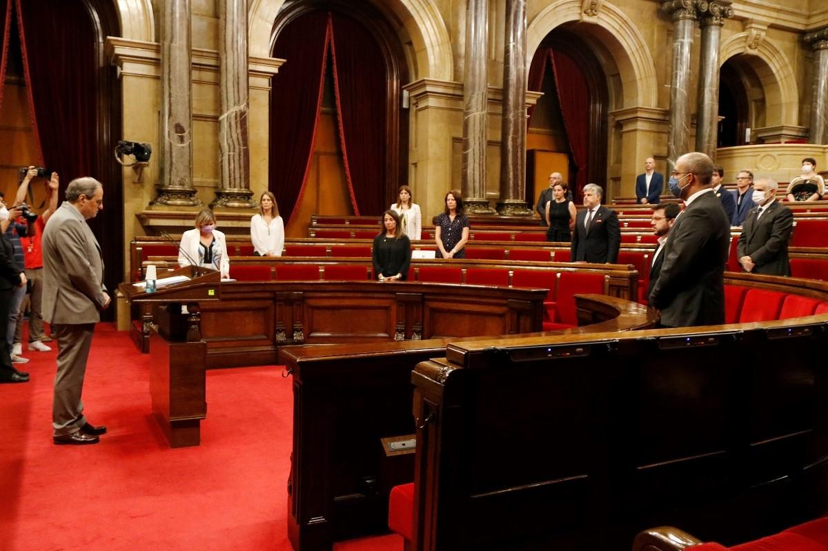 El ple del Parlament, amb el president Quim Torra al faristol
