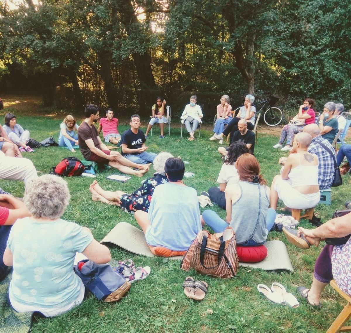 Un moment de la trobada del passat divendres al Parc Nou d'Olot.