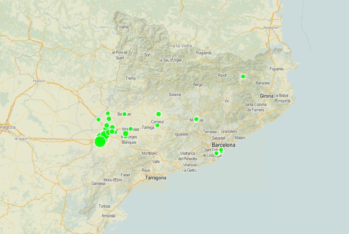 Mapa de Catalunya amb els possibles casos de nous brots.