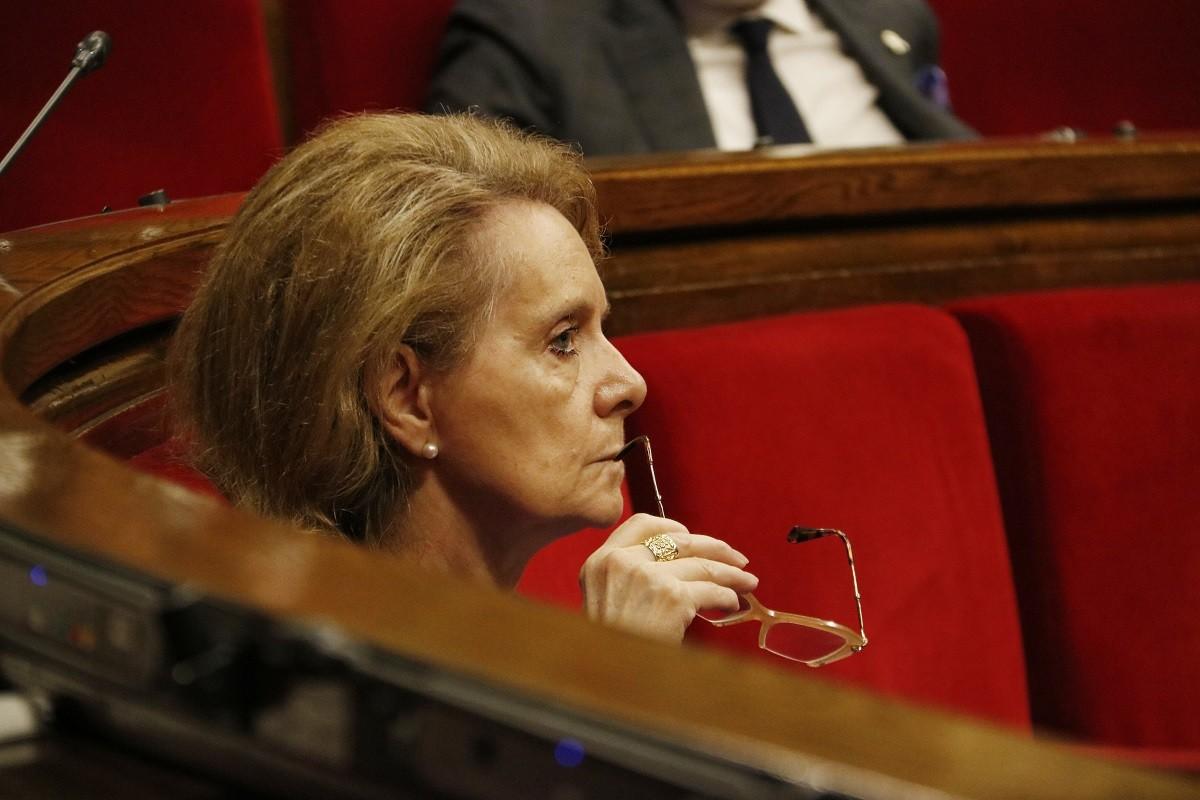 La consellera de Cultura, Mariàngela Vilallonga, al Parlament.