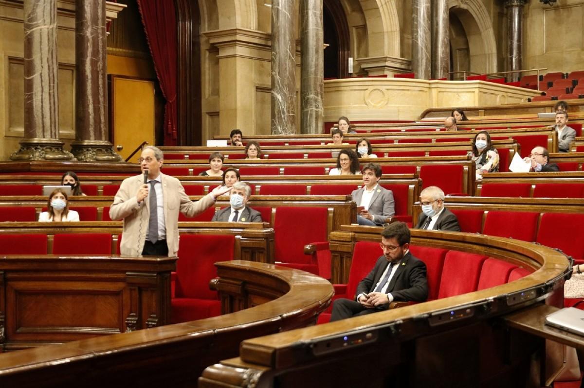 Quim Torra, durant la sessió de control al Parlament