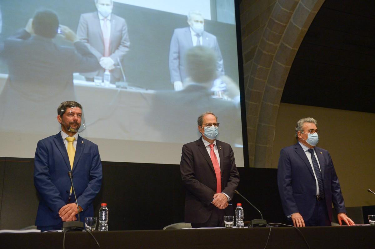 El president Torra amb el president de la Cambra, Joan Canadell, aquest divendres a la Llotja.