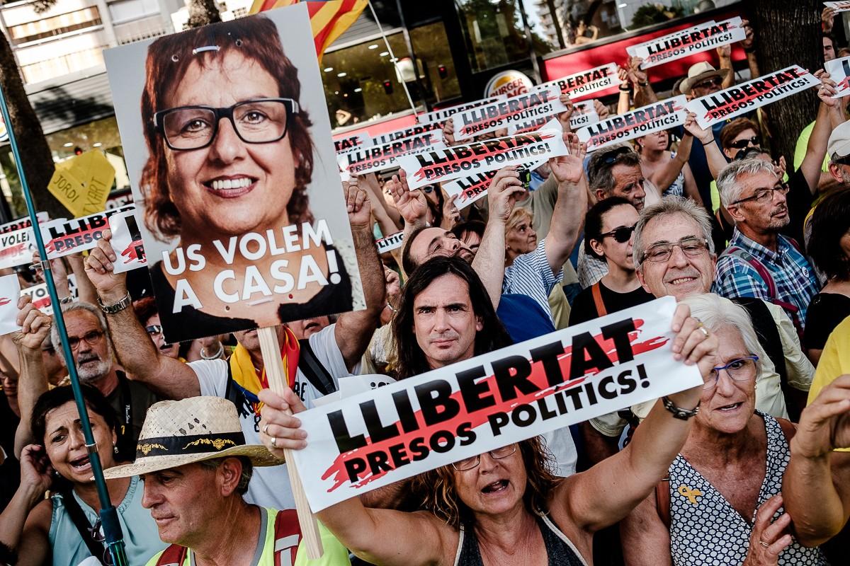 Manifestació a favor de la llibertat dels presos
