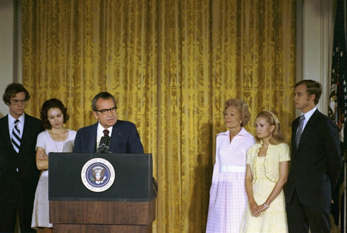 Richard Nixon en el seu discurs de comiat a la Casa Blanca, el 9 d'agost del 1974.