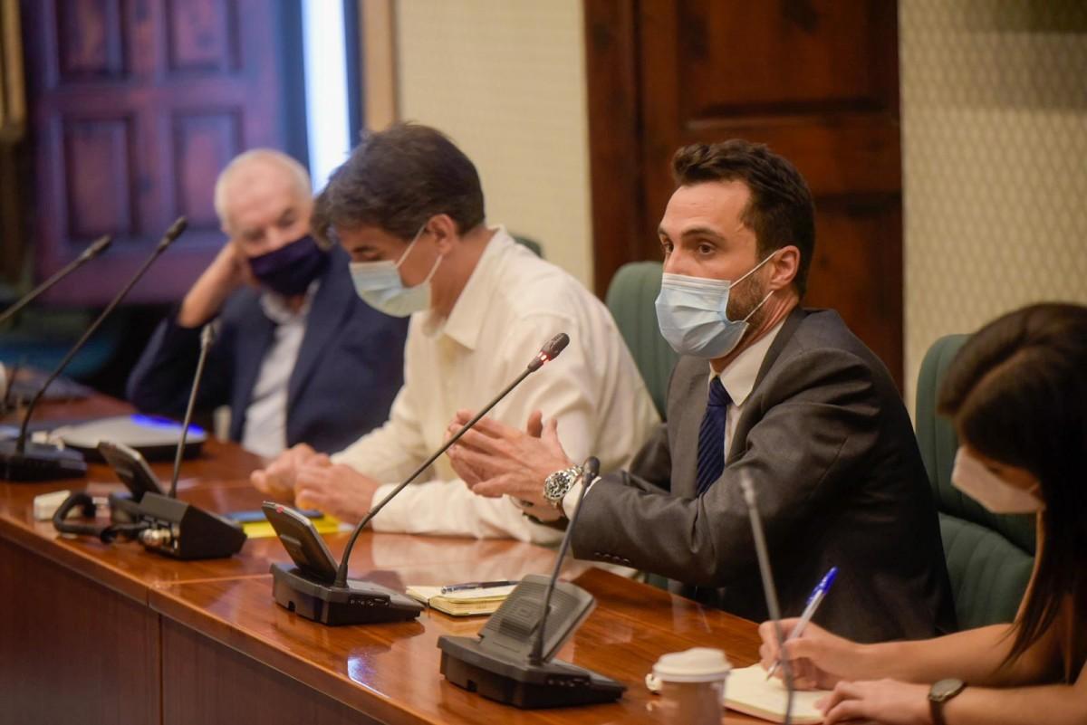 Roger Torrent, Sergi Sabrià i Ernest Maragall, aquest dimecres al Parlament