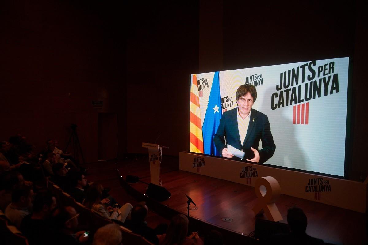 Carles Puigdemont, en un míting de Junts per Catalunya.