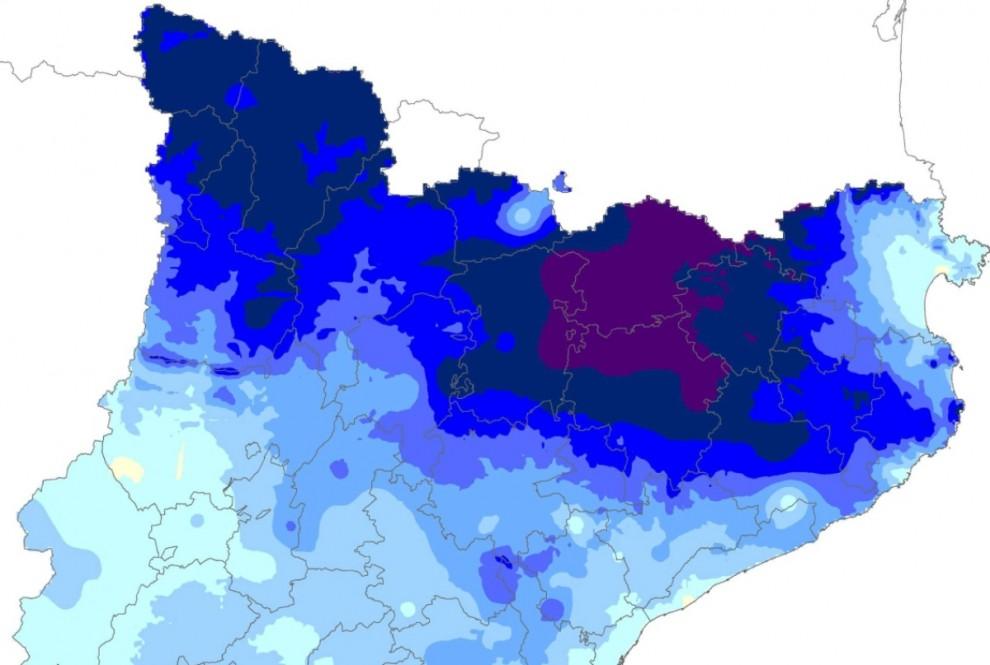 Mapa de la precipitació aculumada a Catalunya durant aquest mes