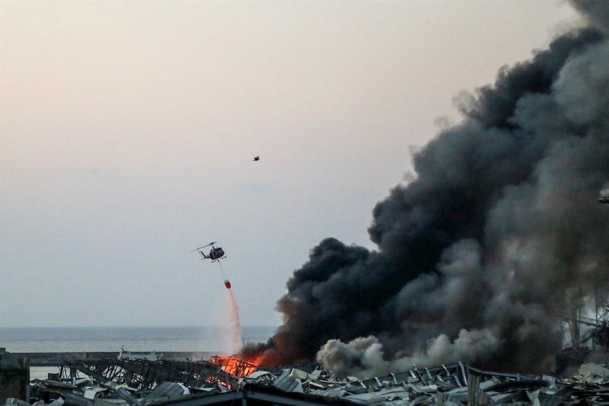 El lloc de l'explosió a Beirut