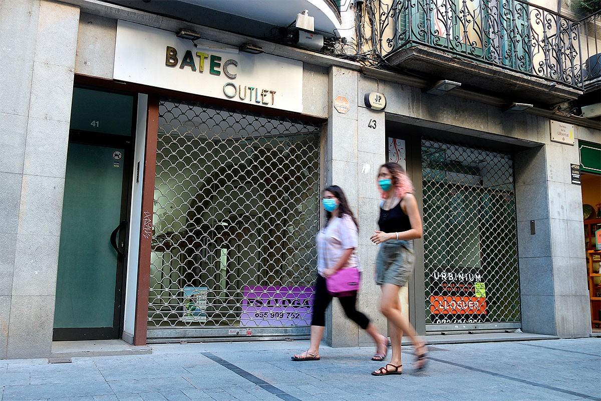 Dos comerços tancats de la Rambla de Girona
