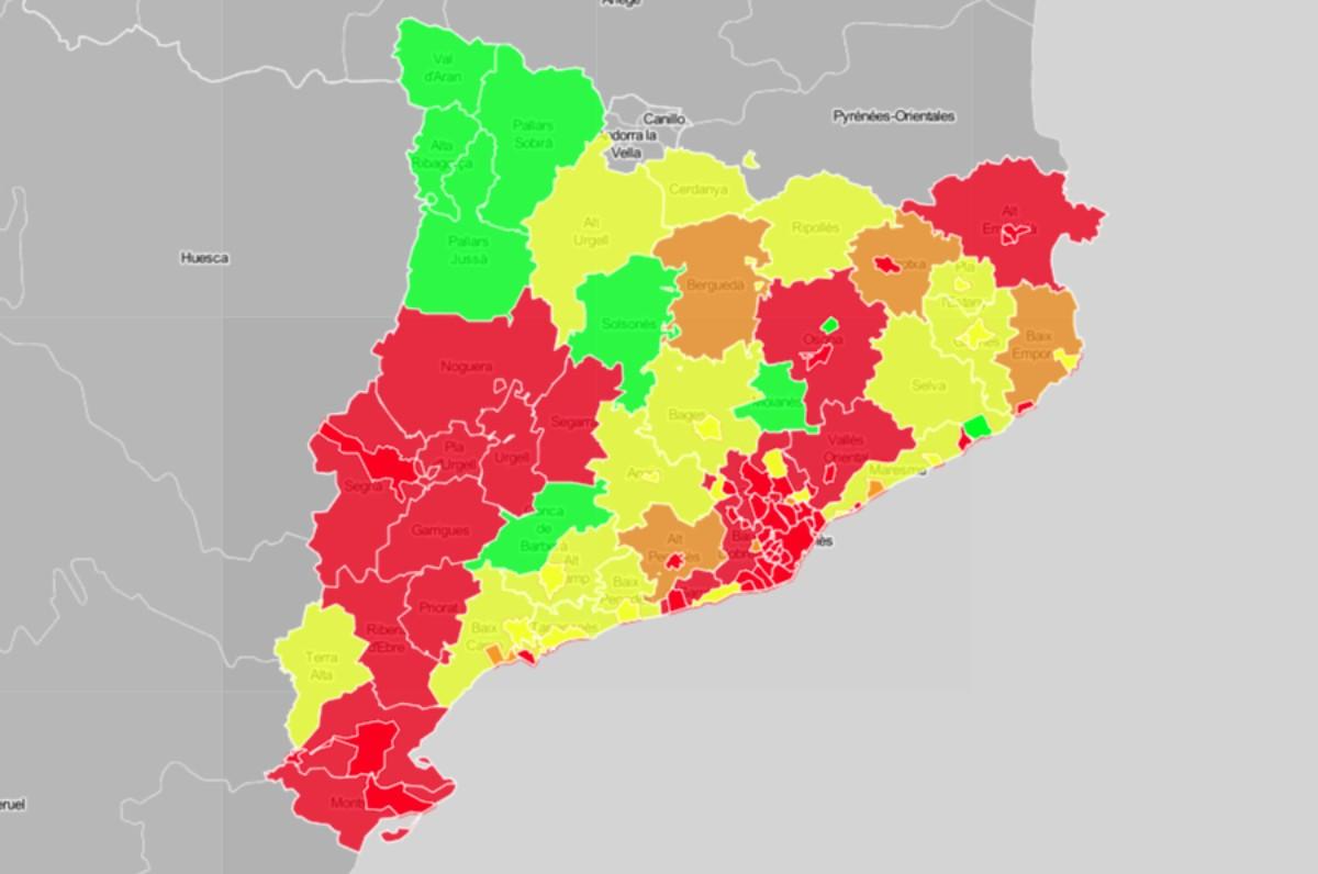 Mapa comarcal i de ciutats, en funció del risc de rebrot de coronavirus.