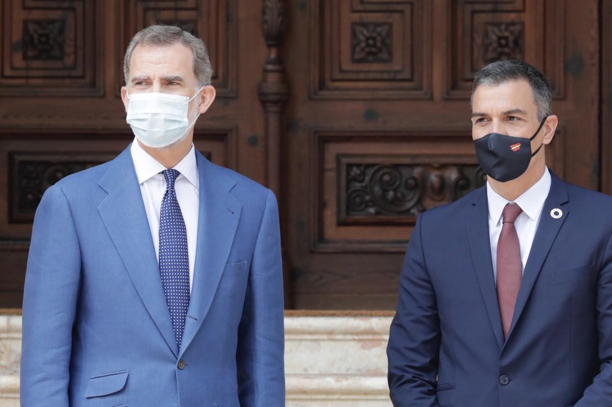 Felip VI i Pedro Sánchez, aquest dimecres al Palau de Marivent.