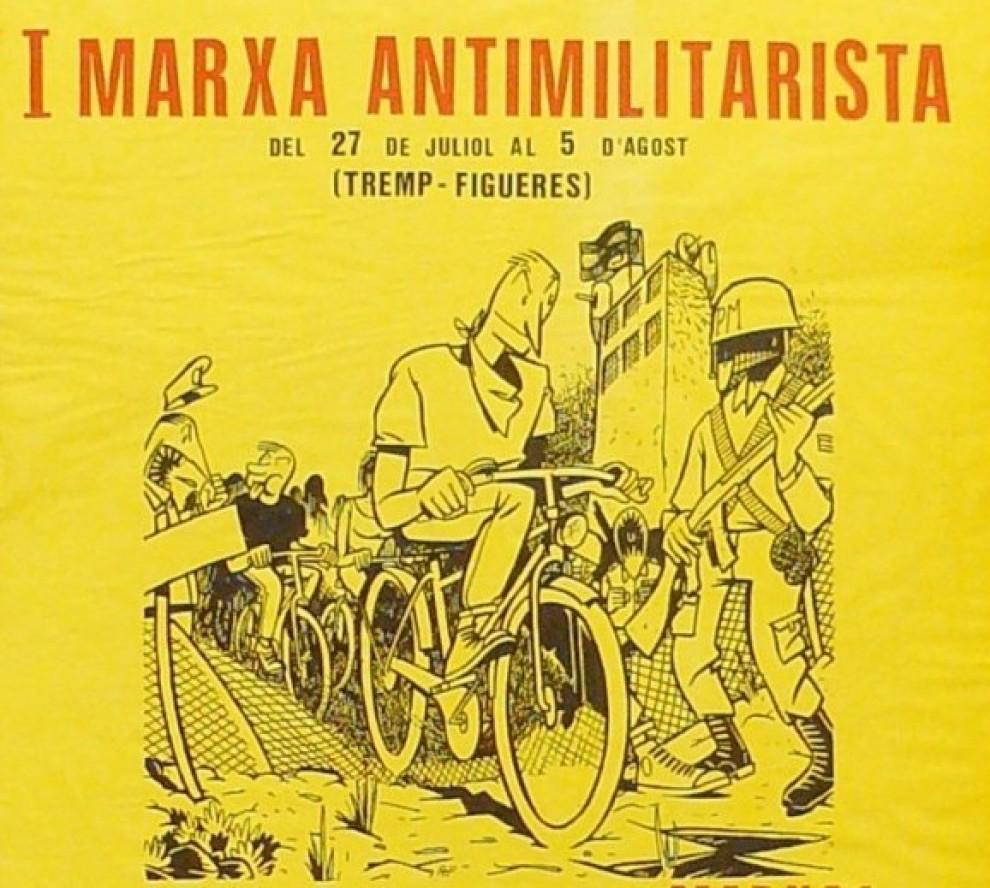 Detall del cartell de la Ia Marxa Antimilitarista Tremp-Figueres