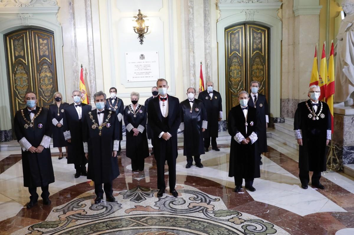 El rei durant l'obertura de l'any judicial 2020.