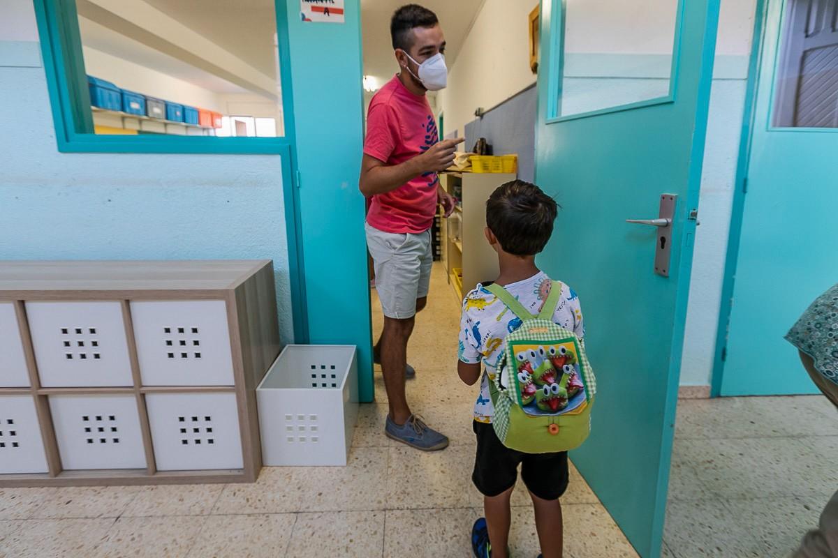 Primer dia de classe a l'escola Enric Casassas de Sabadell