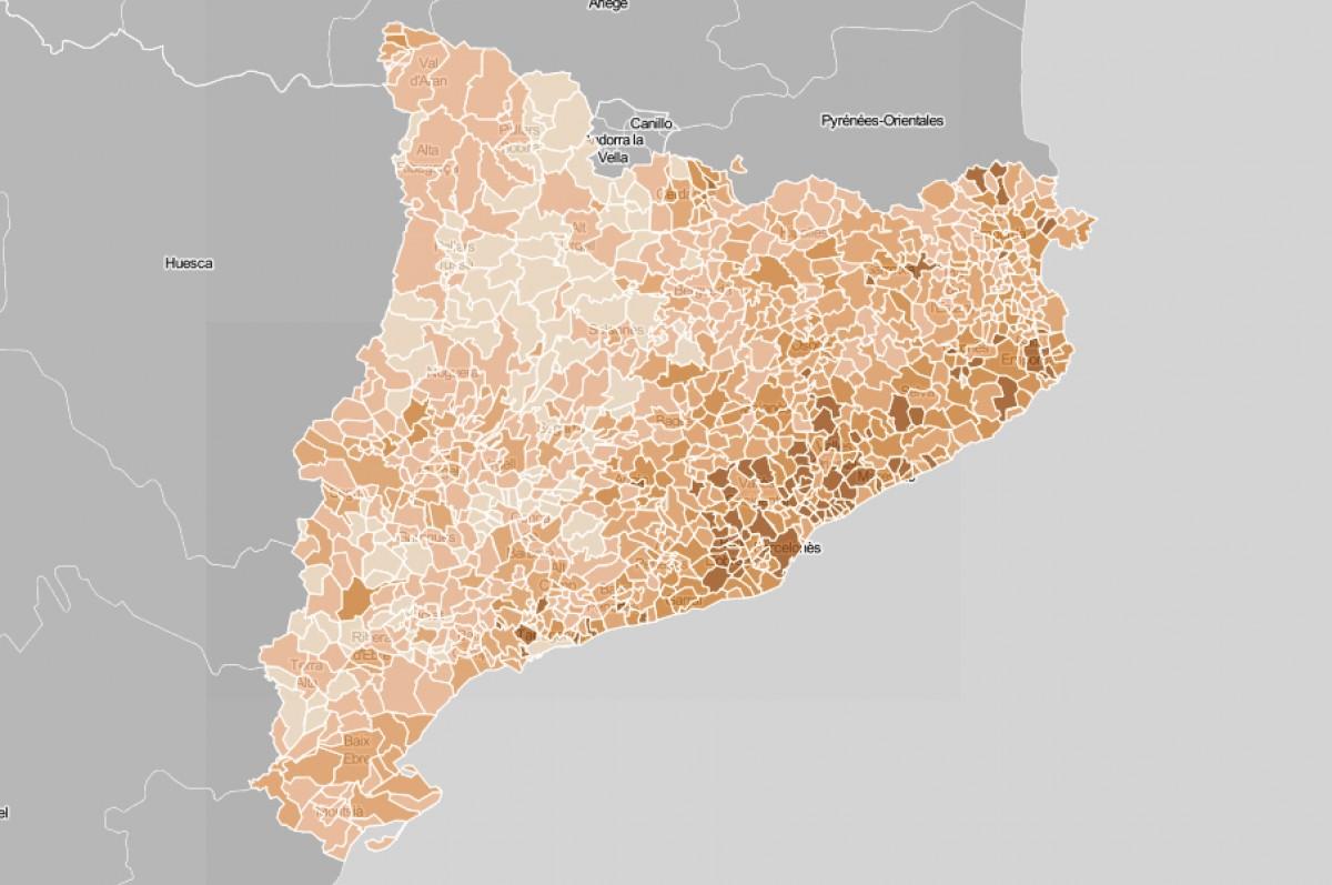 Mapa municipal de Catalunya, en funció del cost mitjà de l'IBI.