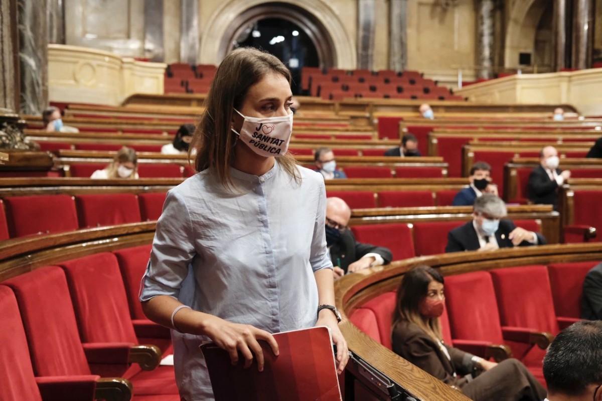La cap de llista dels comuns al Parlament, Jéssica Albiach, durant un ple