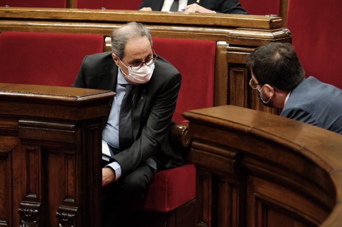 Quim Torra i Pere Aragonès, al debat de política general.