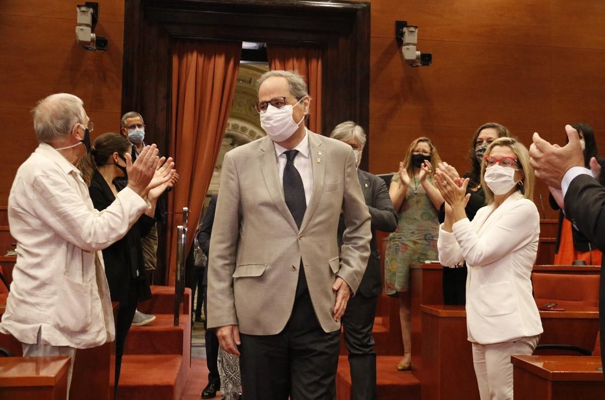 El president de la Generalitat, Quim Torra, aquest divendres al Parlament