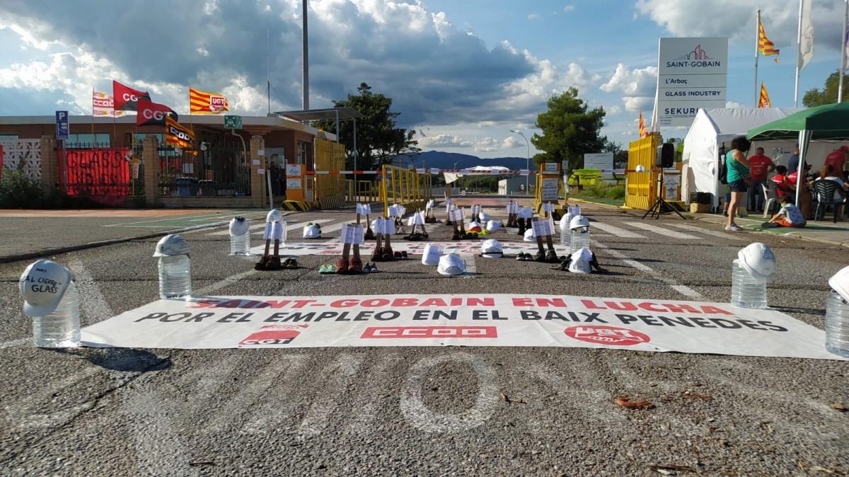Una protesta dels treballadors de Saint Gobain