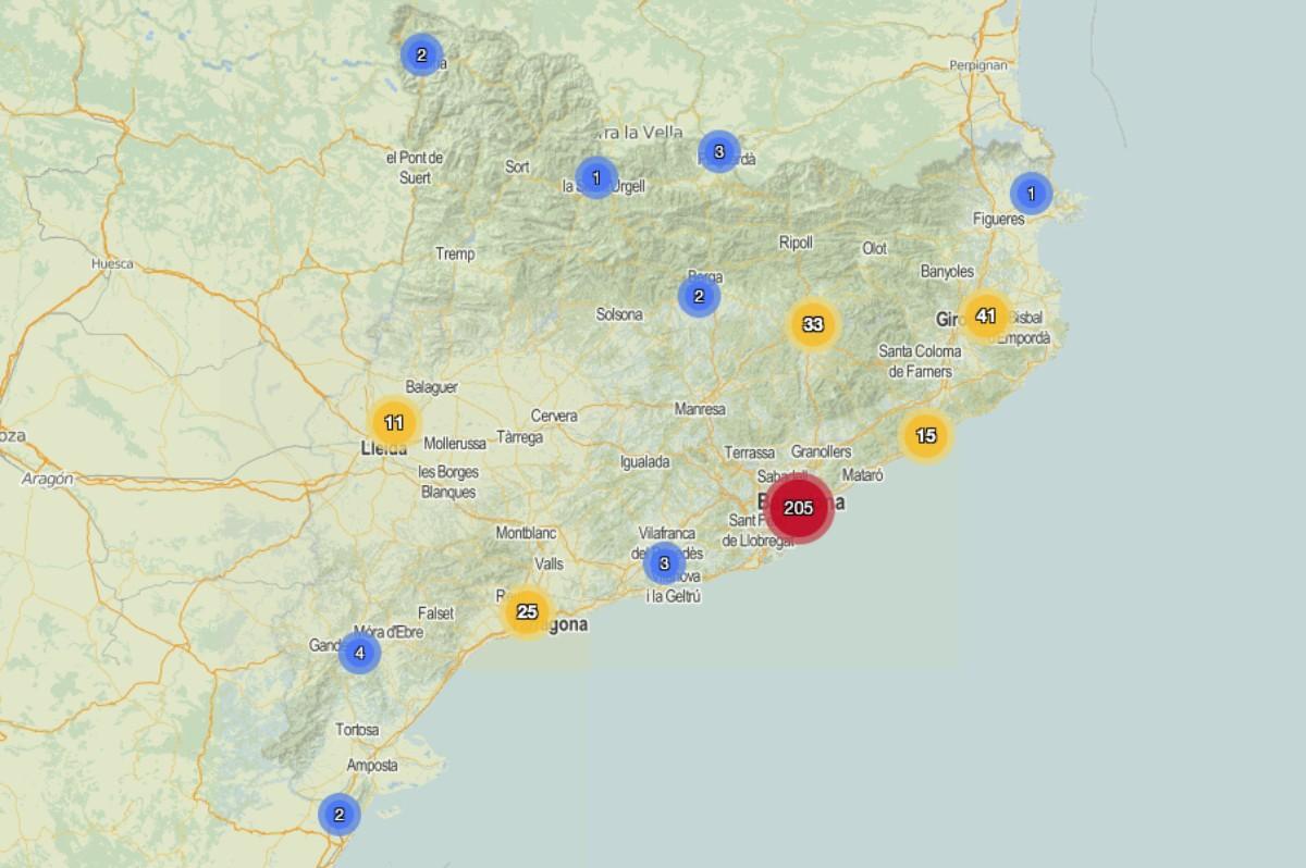 Mapa amb els centres que han hagut de confinar aules pel coronavirus.