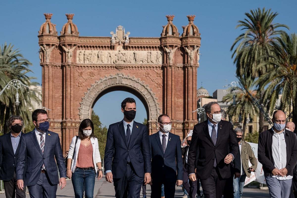 El president de la Generalitat, Quim Torra, de camí aquest dimecres al TSJC