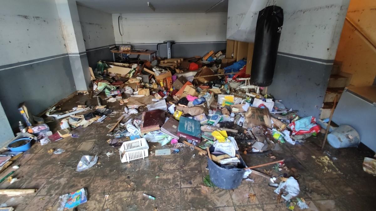 Un dels garatges destrossats per l'aiguat a la Garriga
