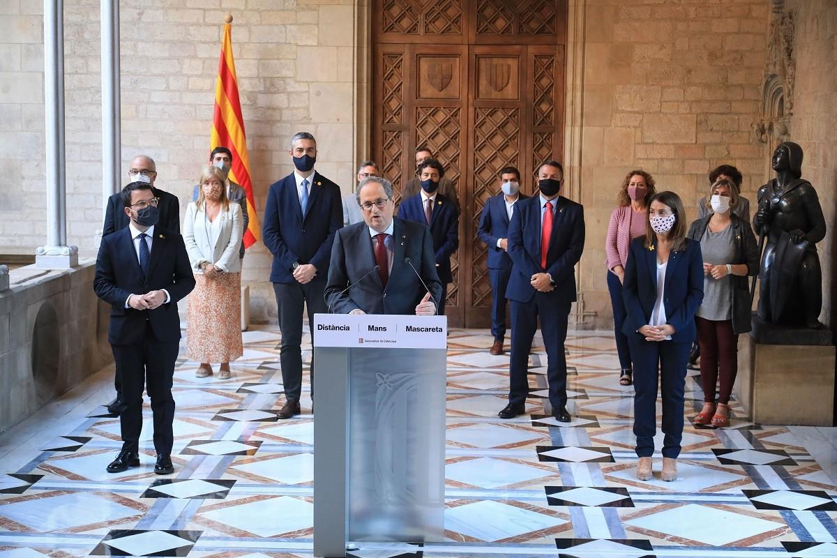 El president Torra, amb tots els consellers del Govern, durant el seu comiat després de ser inhabilitat